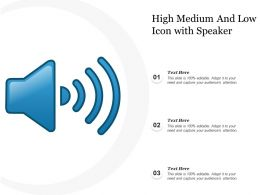 High Medium And Low Icon With Speaker