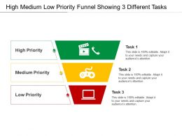 High Medium Low Priority Funnel Showing 3 Different Tasks