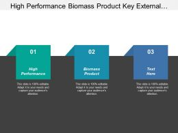 High Performance Biomass Product Key External Opportunities Challenges