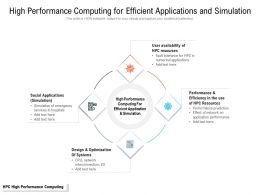 High Performance Computing For Efficient Applications And Simulation