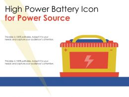 High Power Battery Icon For Power Source