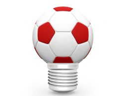 High Resolution Red And White Football On Stand Stock Photo