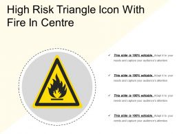 High Risk Triangle Icon With Fire In Centre