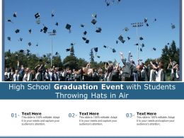 High School Graduation Event With Students Throwing Hats In Air