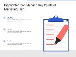 Highlighter Icon Marking Key Points Of Marketing Plan