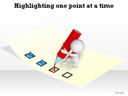 highlighting one point at time man with pencil marking ppt slides diagrams templates powerpoint info graphics