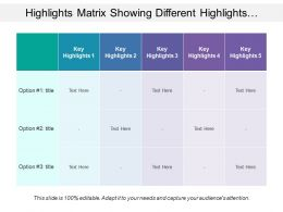 Highlights Matrix Showing Different Highlights With Text Options
