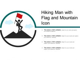 Hiking Man With Flag And Mountain Icon