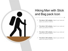 Hiking Man With Stick And Bag Pack Icon