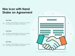 Hire Icon With Hand Shake On Agreement
