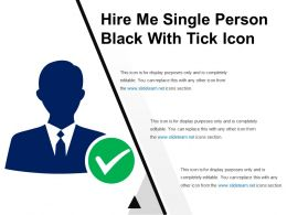 Hire Me Single Person Black With Tick Icon