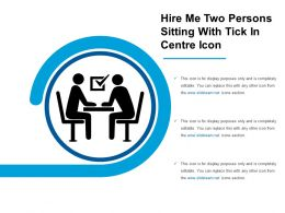Hire Me Two Persons Sitting With Tick In Centre Icon