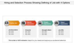Hiring And Selection Process Showing Defining Of Job With 4 Options