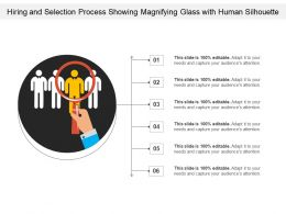 Hiring And Selection Process Showing Magnifying Glass With Human Silhouette