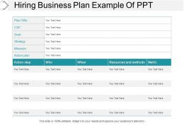 Hiring Business Plan Example Of Ppt