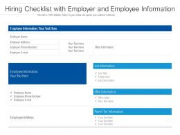 Hiring Checklist With Employer And Employee Information