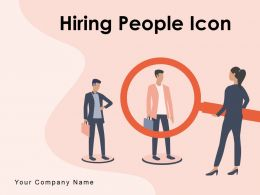 Hiring People Icon Magnifying Glass Candidates Approval Resume Onboarding