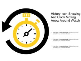 History Icon Showing Anti Clock Moving Arrow Around Watch