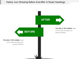 History Icon Showing Before And After In Road Hoardings