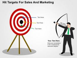 Hit Targets For Sales And Marketing Flat Powerpoint Design