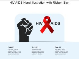 Hiv Aids Hand Illustration With Ribbon Sign