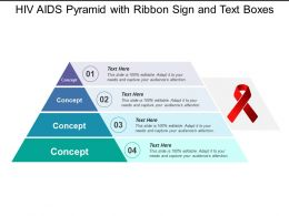Hiv Aids Pyramid With Ribbon Sign And Text Boxes