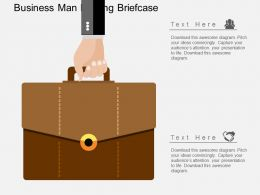 Hj Business Man Holding Briefcase Flat Powerpoint Design