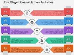 hj Five Staged Colored Arrows And Icons Flat Powerpoint Design