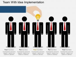 Hj Team With Idea Implementation Flat Powerpoint Design