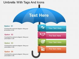 Hj Umbrella With Tags And Icons Powerpoint Template