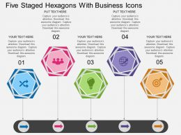 Hk Five Staged Hexagons With Business Icons Flat Powerpoint Design