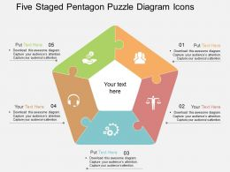 hk Five Staged Pentagon Puzzle Diagram Icons Flat Powerpoint Design
