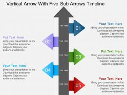 Hk Vertical Arrow With Five Sub Arrows Timeline Powerpoint Template
