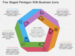 hl Five Staged Pentagon With Business Icons Flat Powerpoint Design