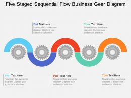 Hl Five Staged Sequential Flow Business Gear Diagram Flat Powerpoint Design