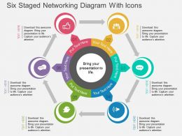 Hl Six Staged Networking Diagram With Icons Flat Powerpoint Design
