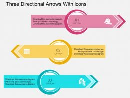 Hl Three Directional Arrows With Icons Flat Powerpoint Design