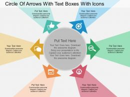 Hm Circle Of Arrows With Text Boxes With Icons Flat Powerpoint Design
