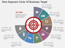 hm Nine Segment Circle Of Business Target Flat Powerpoint Design
