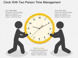 Hn Clock With Two Person Time Management Flat Powerpoint Design
