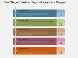 Hn Five Staged Vertical Tags Infographics Diagram Flat Powerpoint Design