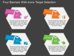 hn Four Banners With Icons Target Selection Flat Powerpoint Design