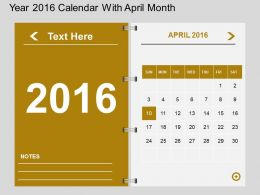 Hn Year 2016 Calendar With April Month Flat Powerpoint Design