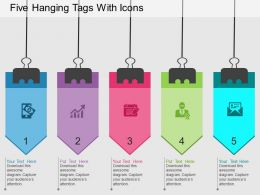 Ho Five Hanging Tags With Icons Flat Powerpoint Design