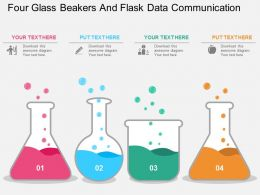 ho Four Glass Beakers And Flask Data Communication Flat Powerpoint Design