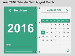 Ho Year 2016 Calendar With August Month Flat Powerpoint Design