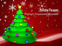 Holidays Christmas Background Tree With Colored Balls Festival Templates Ppt For Slides Powerpoint
