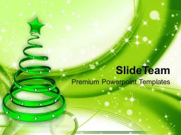 holidays_christmas_carol_green_tree_with_glowing_background_powerpoint_templates_ppt_backgrounds_Slide01
