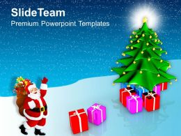 Holidays Christmas Tree With Gifts And Santa Claus Vacations Templates Ppt Backgrounds For Slides
