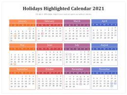 Holidays Highlighted Calendar 2021